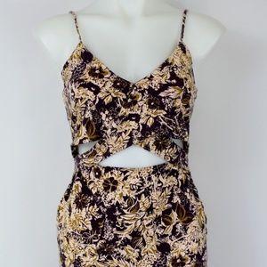 Free People Brown Floral Print Dress Size Medium